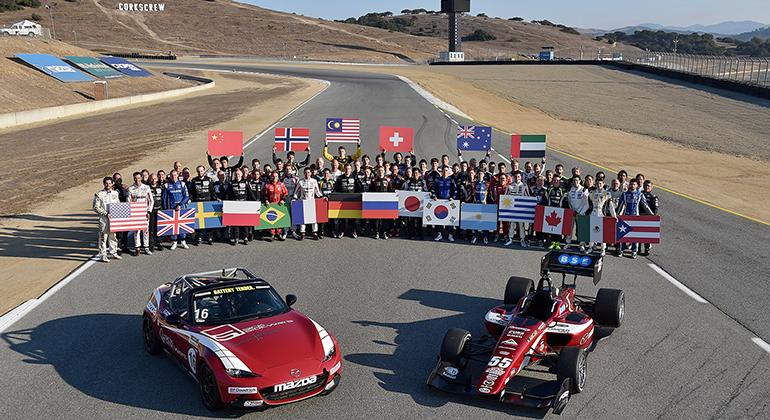 Os pilotos que disputaram a final de 2017,  em Laguna Seca, Califórnia (Mazda Road to Indy)