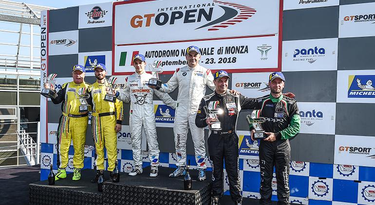 Salas (E) e Basso subiram duas vezes ao lugar mais alto do pódio em Monza (GT Open)
