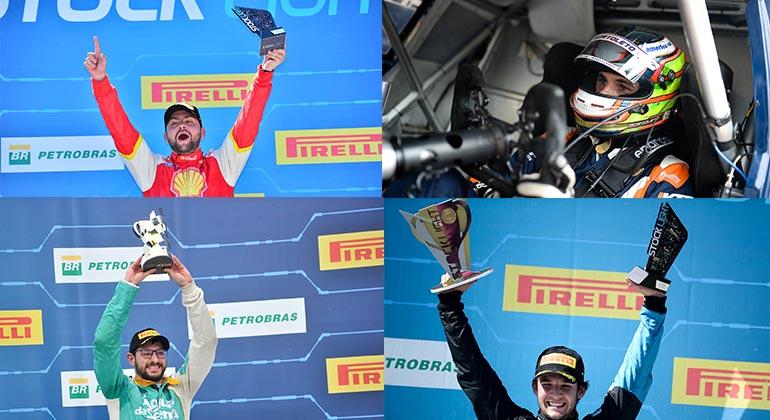 Em sentido horário,, a partir do alto, à esquerda: Raphael Reis, Enzo Bortoleto, Gustavo Frigotto e Pedro Cardoso (Stock Car)