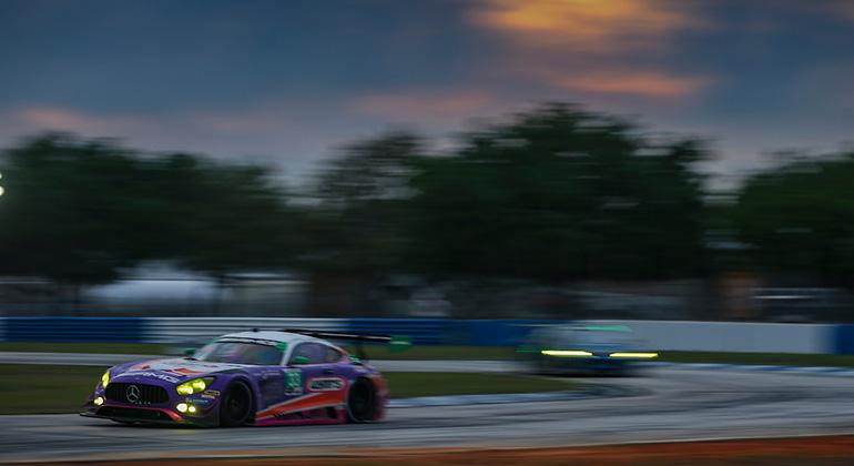 O Mercedes AMG GT3 que Felipe Fraga divide com Ben Keating e Jeroen Bleekemolen (Jack Gastald/IMSA)